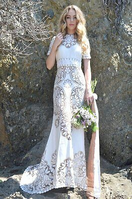 Vintage Sheer Scalloped Lace Hippie Boho WEDDING Maxi Dress Gown W/ Mini Train