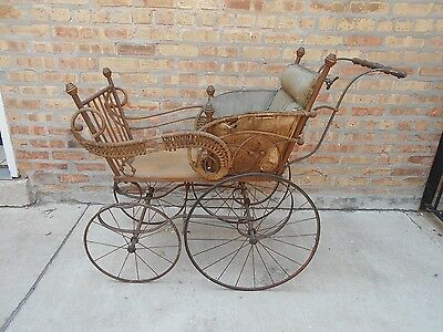 Antique J.S. Ford Johnson & Co. Rattan Baby Buggy Carriage Stroller - Farm Fresh