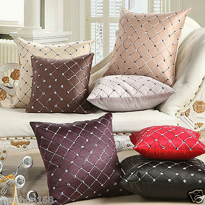 Hot Vintage Home Sofa Bed Car Decor Plaid Throw Pillow Case Square Cushion Cover