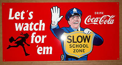 Very Nice Coca-Cola Cop Sign, Great Graphics and Brilliant Colors, Very Glossy