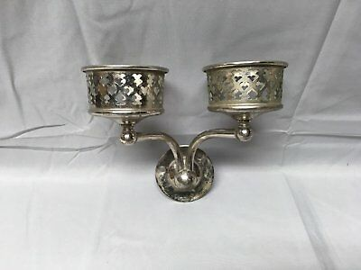Antique Nickel Brass Double Cup Holder Old Vtg Bathroom Fixture Hearts 584-17E