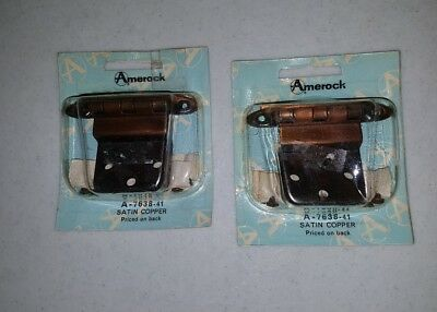 Vintage Amerock Satin Copper Wrought Steel Hinges 2 pkgs. **NEW**Free Shipping