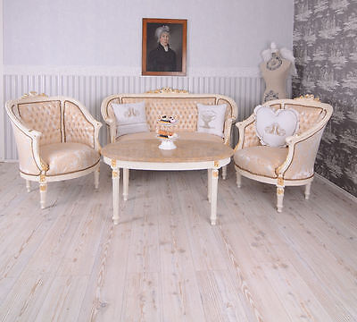 Salon Canape + 2 Fauteuils + Table Style Louis Xvi En Bois Hetre Blanc Dore