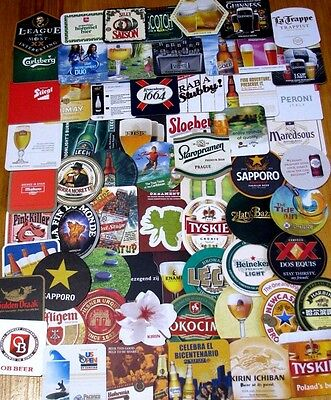 New Listing! Lot of 70 New Imported Beer Coasters! No Dupes! Asia, Euro, Mexico!