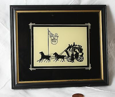 """vintage framed  Silhouette picture  The Coach Shop   5 3/4  x  6 3/4"""""""