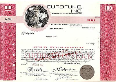100sh 1969 OLD CANCELED STOCK CERTIFICATE EUROFUND, INC