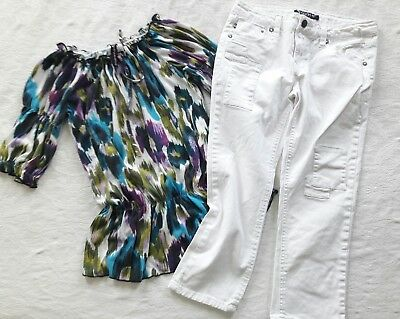 Girls Outfit Skinny White Crop Jeans  Boho Ikat 3/4 Sleeve Top 2Pc Lot Sz 10 12