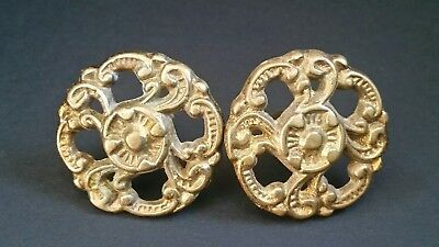 Pair Antique Vintage Brass Metal French Ornate Knobs Drawer Pulls Handles #Z17