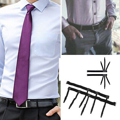 Men Shirt Stays Holder Thigh Elastic Strap Garter Belt Suspender Locking Clamps
