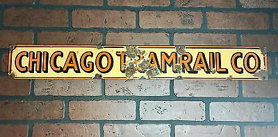 Vintage Porcelain Art Deco Subway TramRail Sign From Downtown Chicago