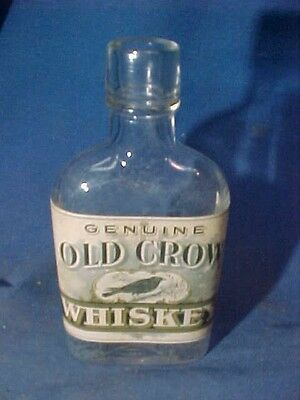 Pre Prohibition EMPTY PINT BOTTLE of OLD CROW WHISKEY w Orig Paper LABEL