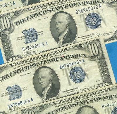 4-$10. 1934 Mixed  Blue Seal  Silver Certificate  Very Fine  Dealers Lot