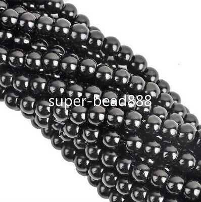 Free Ship 50Pcs Glass Pearl Black Nnice Spacer Beads 6mm For Jewelry