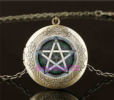 GOTH BRONZE LOCKET OPENS PENTAGRAM DEVIL WITCH DEATH glass necklace pendant NEW