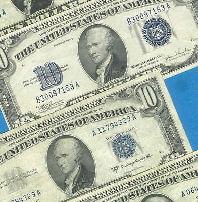 4-$10. 1934 +1953  Blue Seal  Silver Certificate  Very Fine  Dealers Lot