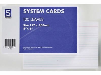 """5 x Sovereign System Cards Ruled 203 x 127mm  (8"""" x 5"""") 100pk 26516"""