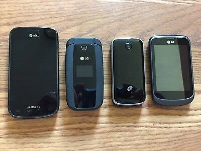 Lot of 4 Mobile Cell Phones - SAMSUNG GALAXY LG ALCATEL
