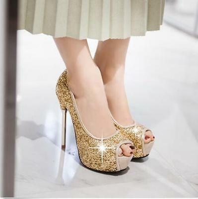 New Womens Shiny Sequins Stiletto Open Toe Pumps High Heels Party Shoes Gold US7