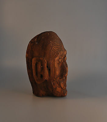 Old Northwest Coast Alaskan Carving - Tlingit? Haida? Indian Head Totem - Cedar