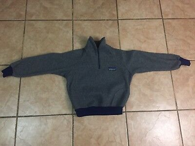 VTG PATAGONIA 1/2 ZIP DARK GREY PULLOVER FLEECE SWEATER JACKET Boys Sz 13-14