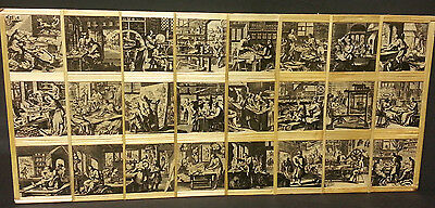 "Vintage 19"" Bamboo/ Wood Collage Picture of Medieval European Factory Workers"