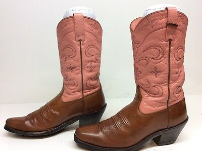 Vtg Womens Ariat Ats Square Toe Cowboy Leather Brown Boots Size 7 B