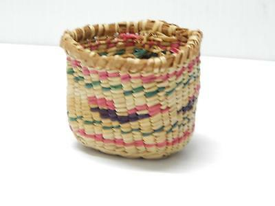 Small Sized Pictorial Makah Nootka Antique Vintage Basket - Nw Coast - Clean !