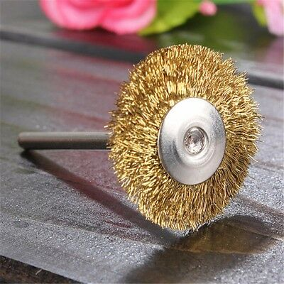 5Pcs 3mm Brass Wire Wheel Brush for Cup Rotary Tool Drill Rust Weld Grinder