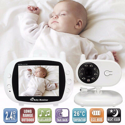 2.4G Wireless Digital 3.5'' TFT LCD Baby Monitor Camera Audio Video Night Vision