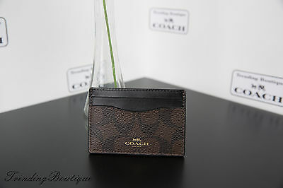New Coach Signature Canvas Card Holder Case in Brown/Black Giftbox Set F63279