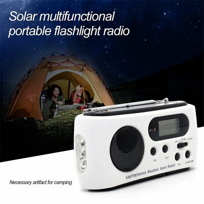 FM/AM Emergency Radio Multiband With Cell Phone Charger Portable Flashlight GF