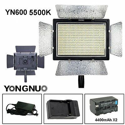 YONGNUO YN600 5500K LED Pro Video Flash Light + 4400mAh Battery +  AC Adapter US