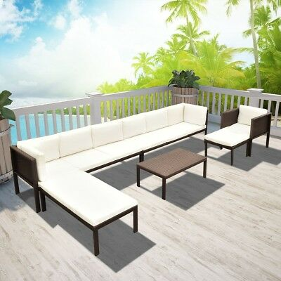S# Black Wicker Rattan Garden Set Outdoor Sofa Lounge ...