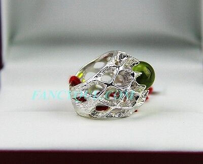 Baccarat Merveille Ring Small 925 Sterling Silver W Olivine France Sz 51