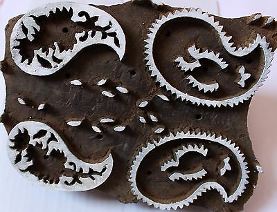 Vintage Indian Design Wooden Hand Curved Printing Textile Fabric Stamps