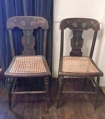 PAIR Antique FEDERAL BALTIMORE SIDE CHAIRS Fancy Hand-Painted c. 1820 Cane Seats