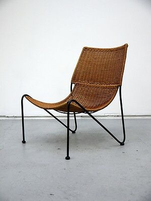 Mid Century Frederick Weinberg Rattan Lounge Chair Retro Vintage 50s 60s 70s