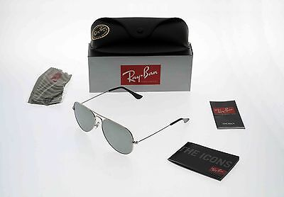 BRAND NEW RAY-BAN RB3025 W3275 Aviator Sliver Frame/ Silver Mirror Lens 55mm