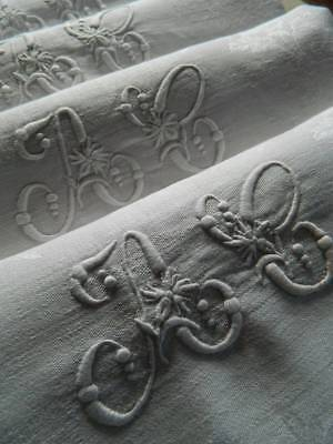 "Set huge antique French linen damask napkins - hand embroidered monogram ""A.C"""