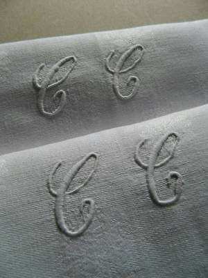 """Pair of antique French linen damask napkins hand embroidered monogram """"C.C"""""""