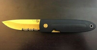 Vintage Buck Knife 180 Crosslock Limited Edition Gold Buckcote Blade With Sheath