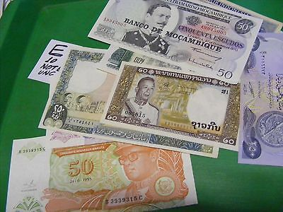 Lot of 10 uncirculated World Banknotes, all diff...Please compare to others.(E).