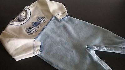 Vintage Baby Boy Outfit, FRIEDMAN , Blue and White 1 Piece Newborn Ex Condition