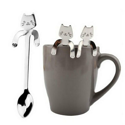 Cartoon Silver Cat Stainless Steel Tea Coffee Spoon Ice Cream Cutlery Tableware