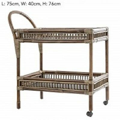 Rattan And Bamboo Trolley / Tea Cart - 75 L X 40 W X 76 H