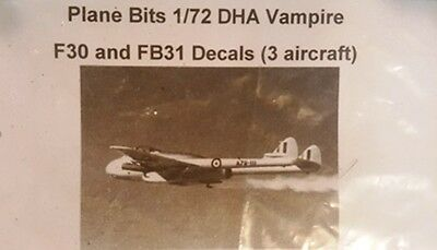 Plane Bits 1/72 DHA Vampire F30 and FB31 RAAF Decals