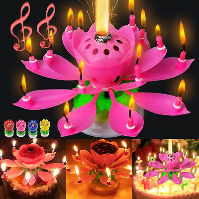 8 Candles Rotating Musical Lotus Flower Candles Birthday Cake Topper Light