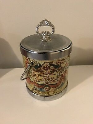 Vintage World Map Ice Bucket Retro With Chrome Lid And Handle