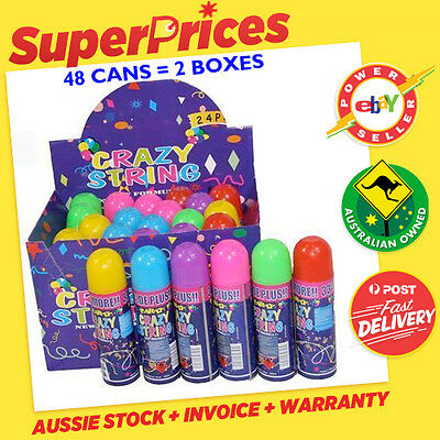 Crazy Strings◉Wholesale Bulk Box Of 24/48◉Party◉Silly String◉6 Assorted Colours◉