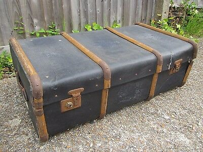 Vintage Steamer Trunk / Box / Case with Wooden Bands - Coffee Table ?